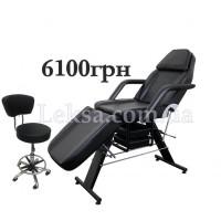 КУШЕТКА КОСМЕТОЛОГІЧНА  LS-202 BLACK + стілець майстра 591