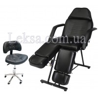 КРІСЛО КУШЕТКА КОСМЕТОЛОГІЧНА LS-240 BLACK + стілець майстра педикюра 780