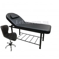 КУШЕТКА КОСМЕТОЛОГІЧНА LS-266A Black + стілець майстра 871