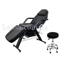 КУШЕТКА КОСМЕТОЛОГІЧНА  LS-202 BLACK + стілець майстра 836