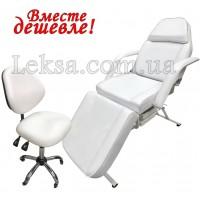 КУШЕТКА КОСМЕТОЛОГІЧНА  LS-202 White + стілець майстра 886