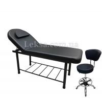 КУШЕТКА КОСМЕТОЛОГІЧНА LS-266A Black + стілець майстра 591