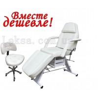 КУШЕТКА КОСМЕТОЛОГІЧНА  LS-202 WHITE + стілець майстра 780