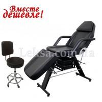 КУШЕТКА КОСМЕТОЛОГІЧНА  LS-202 BLACK + стілець майстра 881