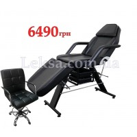 КУШЕТКА КОСМЕТОЛОГІЧНА  LS-202 BLACK + стілець майстра 999